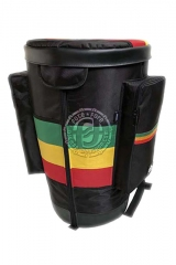 Djembe case black rasta stripes XXL