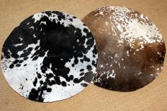 rundes Kalbsfell mit Haar - gemustert