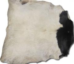 Ziegenfell Guinea mit Haaren weiß / weiß mit Muster